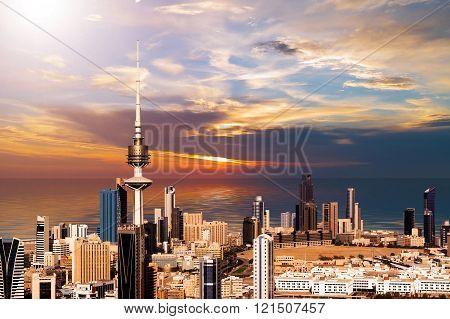 Beautiful Kuwait City  Skyline During Golden Sunset