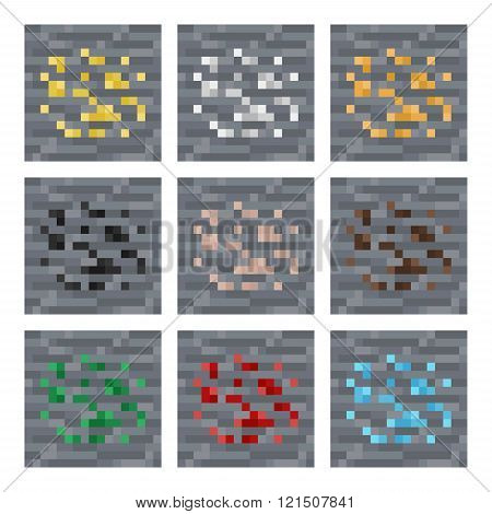 Texture for platformers pixel art vector: stone ore mineral blocks: silver, gold, coal, gem, iron
