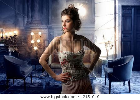 portrait of a beautiful woman in a luxury interior