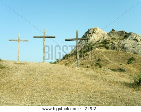 Three Crosses On The Hill