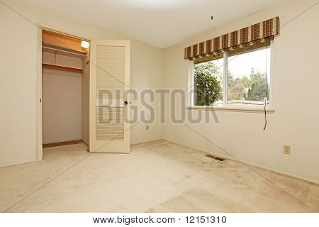 Empty Room With Window And Closet Door