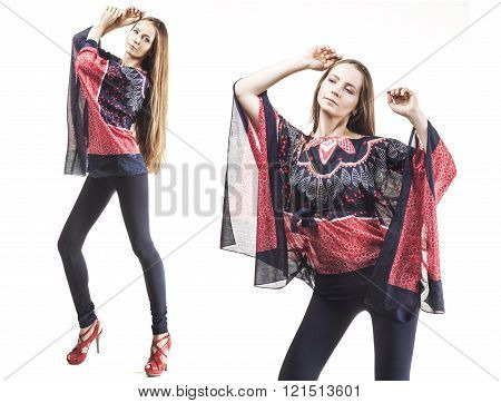Model Beautiful Women In  Tunic And Leggings In Length Isolated On White Background