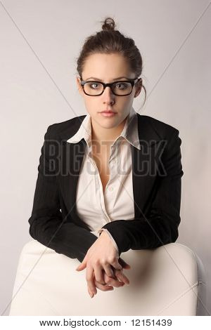 Portrait of a beautiful business woman with glasses