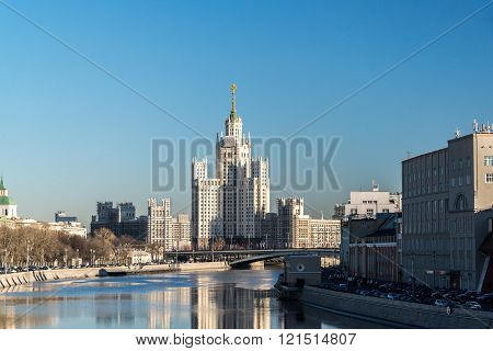 Moscow, Russia - February 18.2015.  Stalin-era building on  a telnicheskaya Embankment