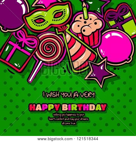 Birthday card with items, balloon, cake, hat, star, lollipop, masquerade and gift on dotted backgrou