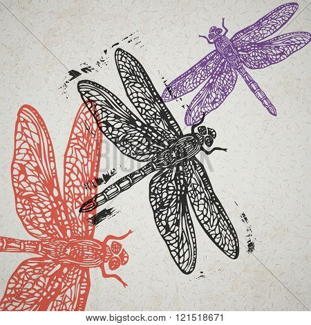 Vector Dragonfly In Abstract Composition.