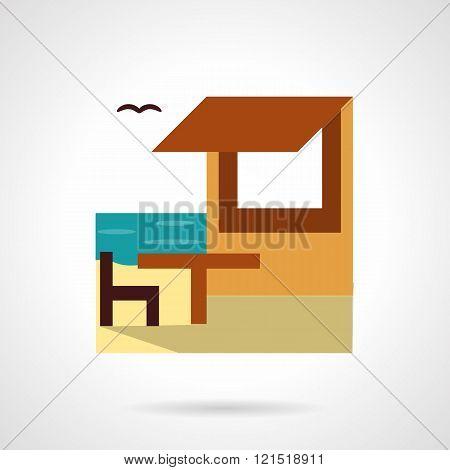 Beach rest flat color design vector icon