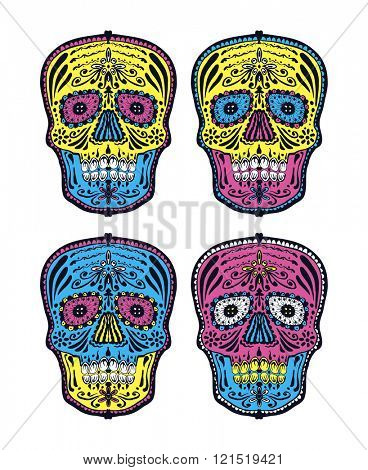 Sugar skull. Vector set.