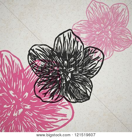 Vector Flowers In Abstract Composition.
