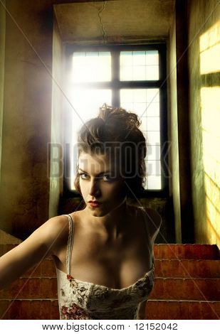 woman inside an old house