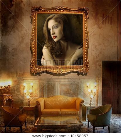 a luxury interior with a woman picture