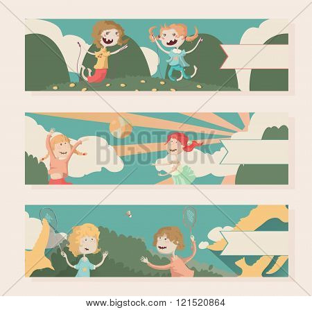 Horizontal vector banners with kids playing outdoor sports (badminton, ball, skipping rope). Fun, colored, happy and kind.