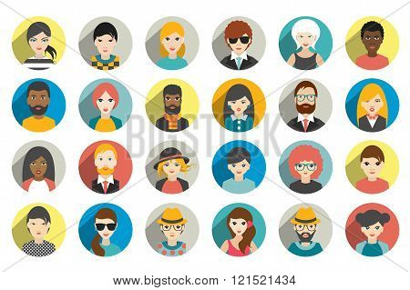 Big set of various ethnicity avatar, people head.