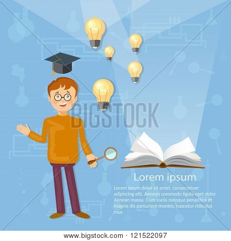 Education Background Schoolboy Open Book Bulbs Knowledge
