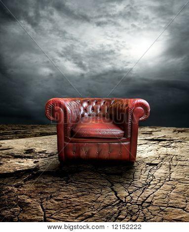 armchair on a dry ground