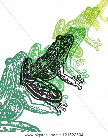 Vector Frog In Abstract Composition.