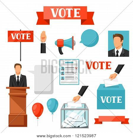 Vote political elections set of objects. Illustrations for campaign leaflets, web sites and flayers