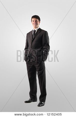 portrait of a business man standing isolated on a white background