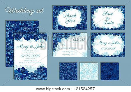 Set Of Wedding Invitations And Seamless Pattern For Your Design.