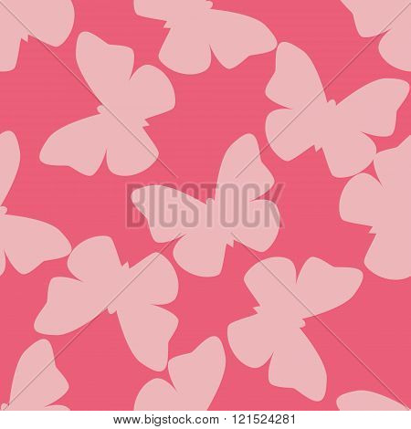 Vector seamless pattern with light pink random butterflies on pink background. Vintage design for wr