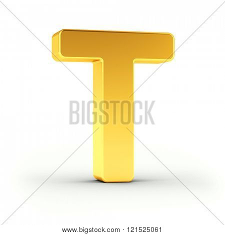 The Letter T as a polished golden object over white background with clipping path for quick and accurate isolation.
