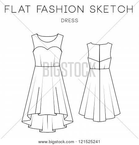 Flat Fashion Sketch Template - Dress