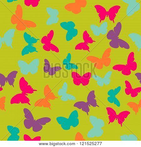 Vector seamless pattern with random orange blue pink purple butterflies on green background. Vintage