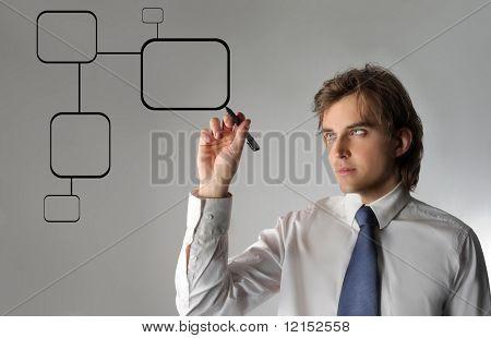 Homem de negócios, desenho um gráfico digital