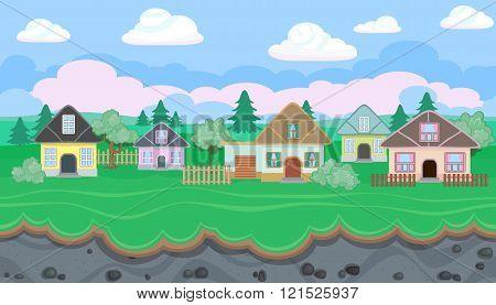 Seamless Editable Landscape Of Village For Game Design
