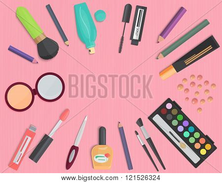 Set of colorful cosmetic isolated on a pink background. Top view.