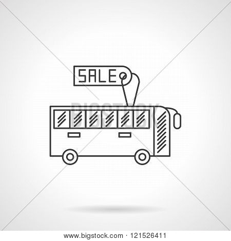 Sale bus flat line design vector icon