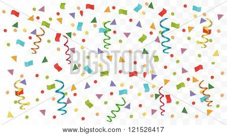 Transperant alpha background with colorful confetti. Vector illustration.