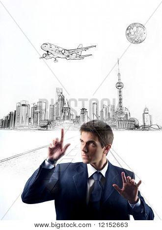 homem de negócios, tocando ilustração digital de uma cidade