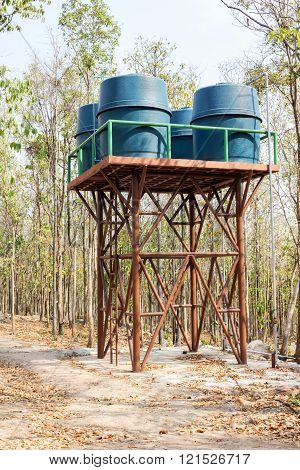 Group of water tanks set up on top