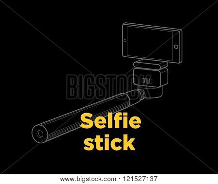 Selfie Stick Thin Line Vector Icon On The Black Background
