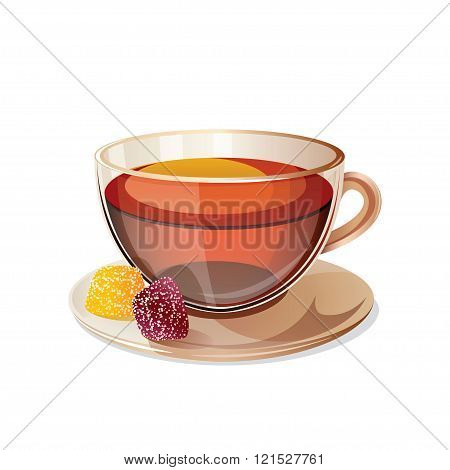 Glass Cup With Black Tea Isolated On White Background.