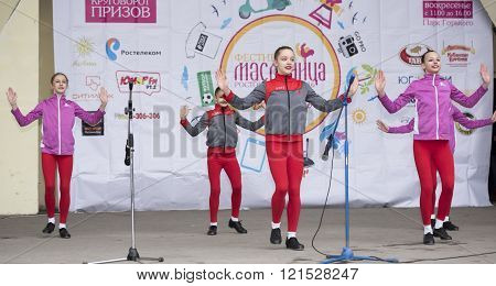 ROSTOV-ON-DON RUSSIA-MARCH 13- Performance of children dance ensemble of Maslenitsa in Gorky Park on March 13;2016 in Rostov-on-Don
