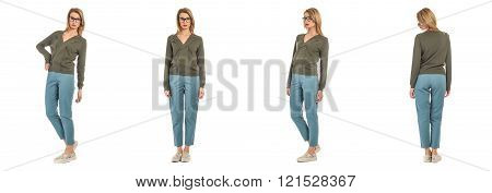 Beautiful blonde lady in casual clothes isolated on white set