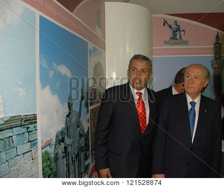 ANKARA/TURKEY-JUNE 8: Nationalist Movement Party-MHP's Leader Devlet Bahceli (R) visit the