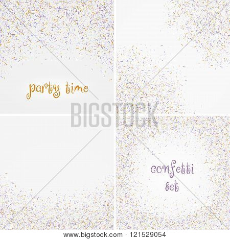 set of colorful confetti falls isolated over white background. Vector illustration.
