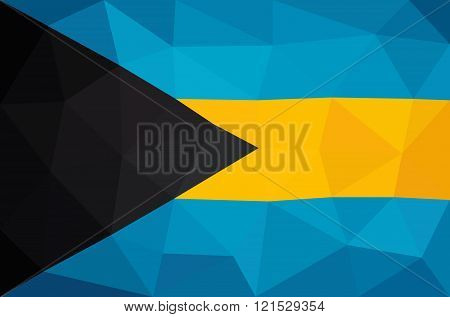 The Bahamas low poly triangulated flag