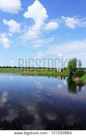 Spring landscape with pond