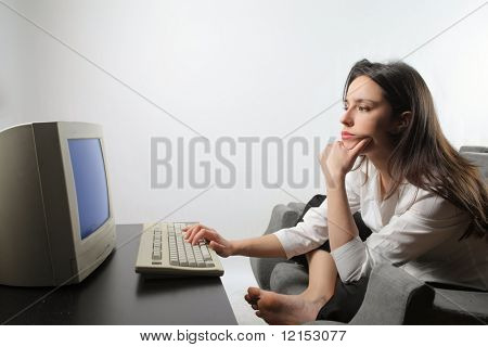 worried woman with computer