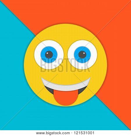 Smile material design vector illustration. Yellow smile illustration. Material design vector.
