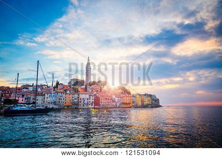 View of Old Town Rovinj in Croatia, Adriatic Sea