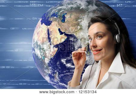 international customer support operator woman