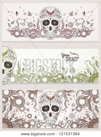 Banners of Dia de Muertos sugar skull with ornate on an abstract floral ornamental background. Day o
