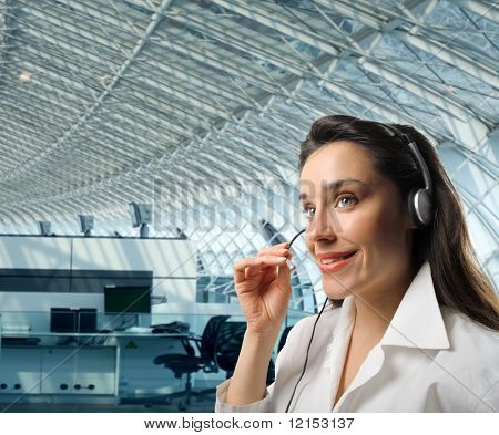 business customer support operator woman in a moder interior