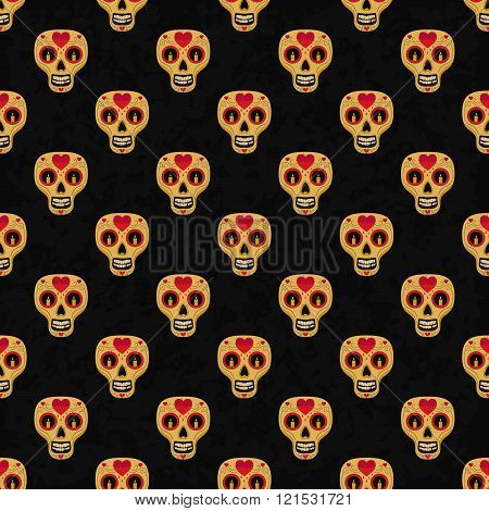 Dia de Muertos cartoon Skull Ornate Day of The Dead seamless pattern