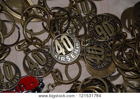 ANKARA/TURKEY-JUNE 8: Key rings at the advertising stand during the